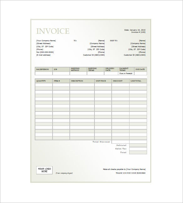 General Invoice Template sehadetvakti – Format for an Invoice
