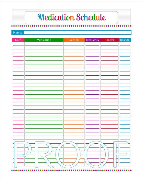sample medication schedule instant download pdf printable