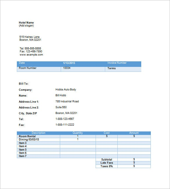 Hotel Invoice Templates   Free Word Excel Pdf Format Download