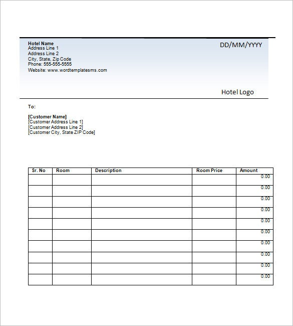 Hotel Invoice Template 8 Free Word Excel PDF Format Download – Sample Hotel Receipt Template