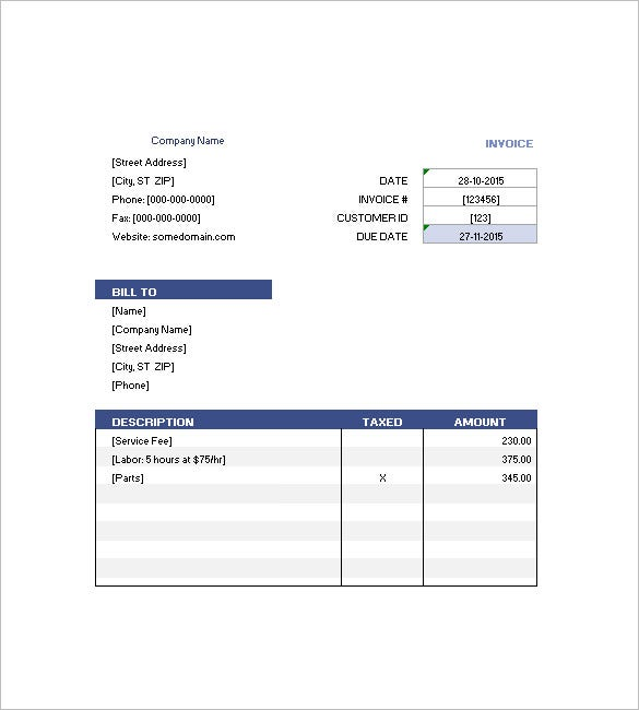 sample invoice in excel