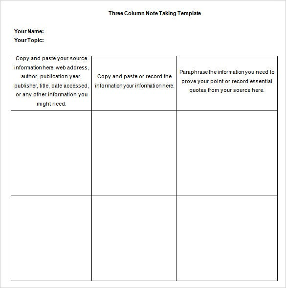 three column note taking template