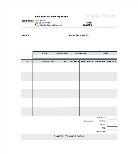 Lease Invoice Template   Free Word Excel  Format Download