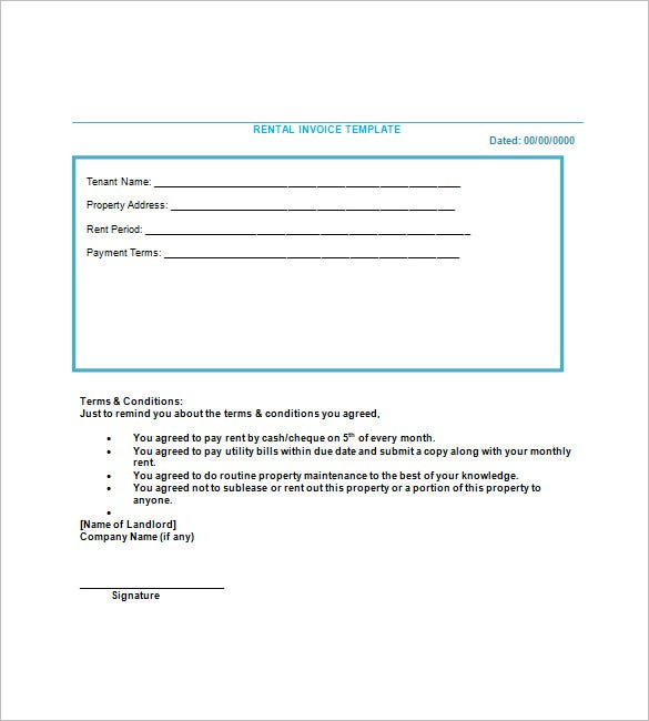 Lease Invoice Templates Free Word Excel PDF Format Download - Invoice for rent payment