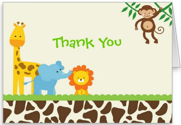 Printable Kids Birthday Thank You Notes Card  Free Thank You Card Template For Word