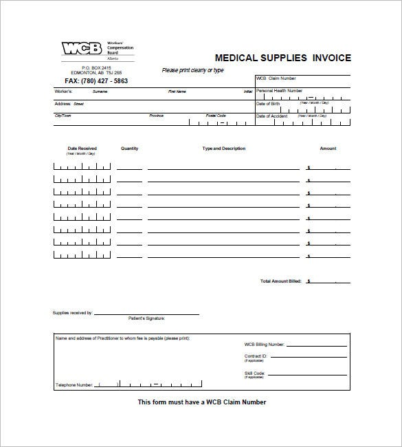 free medical records invoice template  Medical and Health Invoice Templates - 14  Free Word, Excel, PDF ...