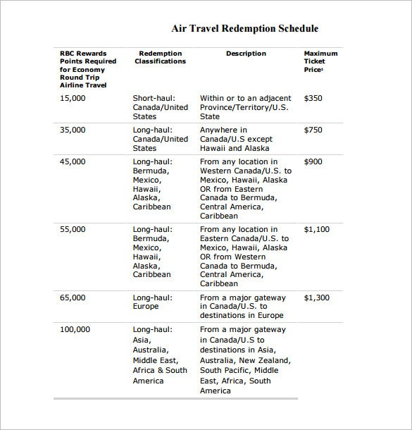 printable air travel redemption schedule template
