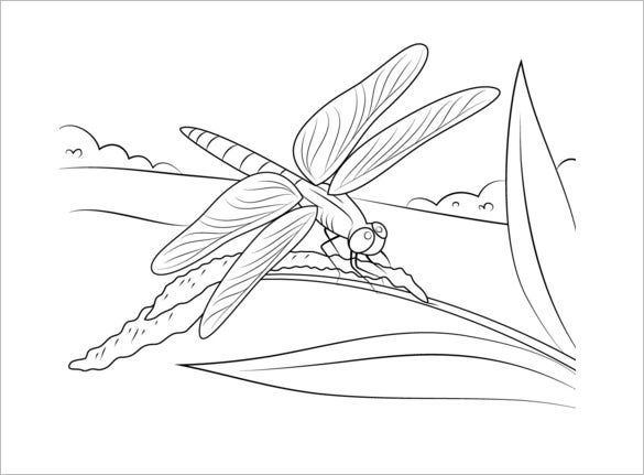 dragonfly on stem template