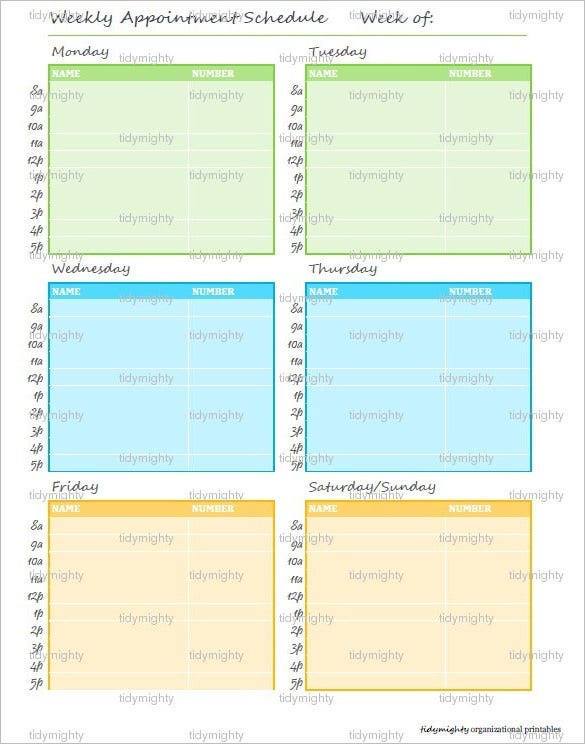 sample weekly appointment planner schedule printable pdf download