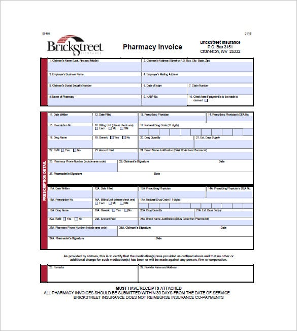 Medical  Health Invoice Template   Free Sample Example Format