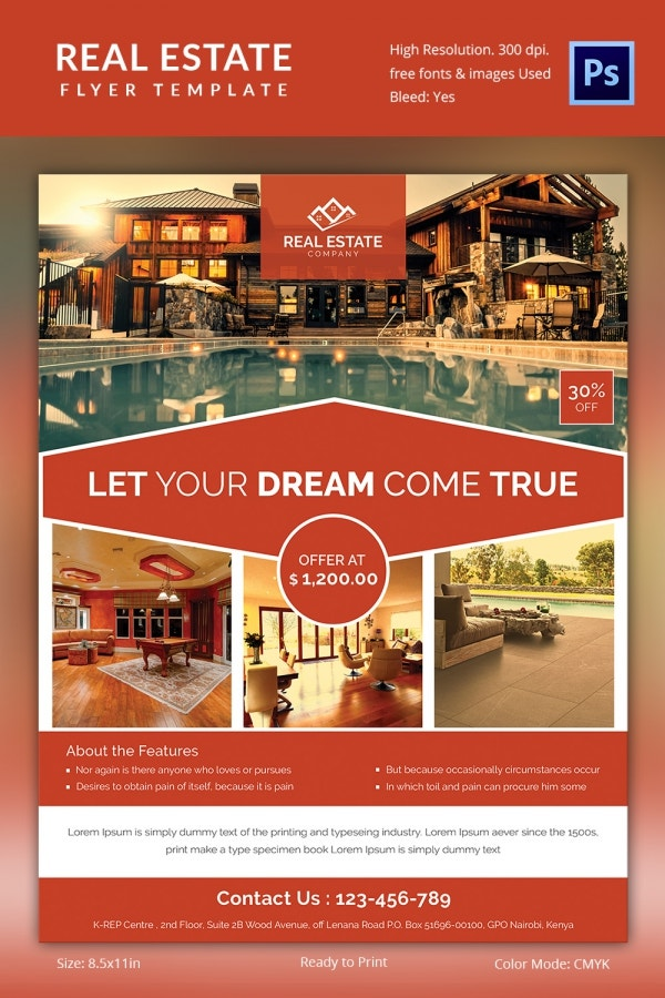 Real estate flyer template 35 free psd ai vector eps for Property brochure template