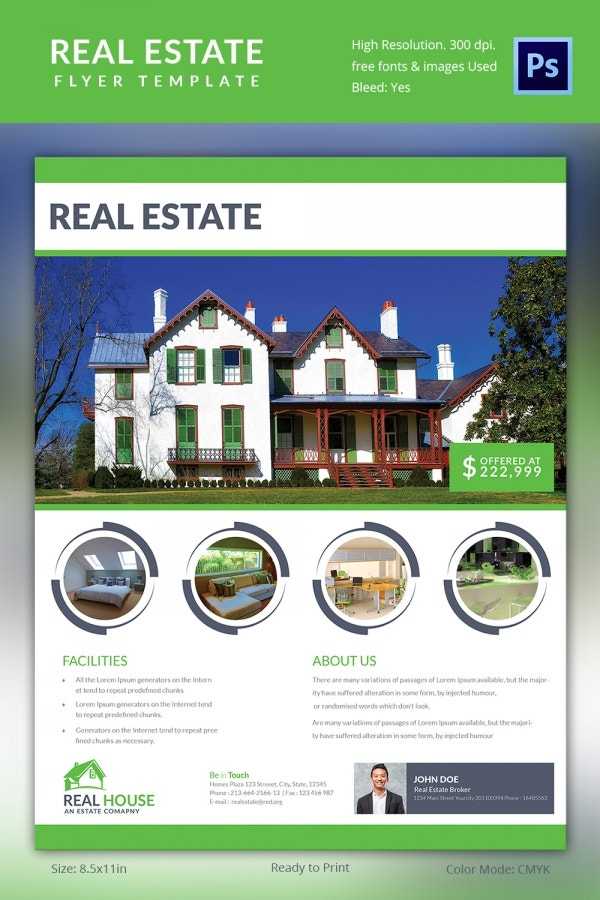 Green Real Estate Flyer Template