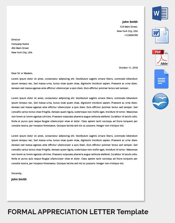 Formal Appreciation Letter Template