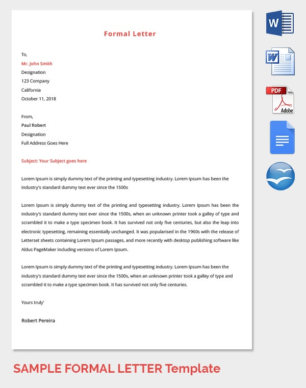 Employee Formal Letter Template