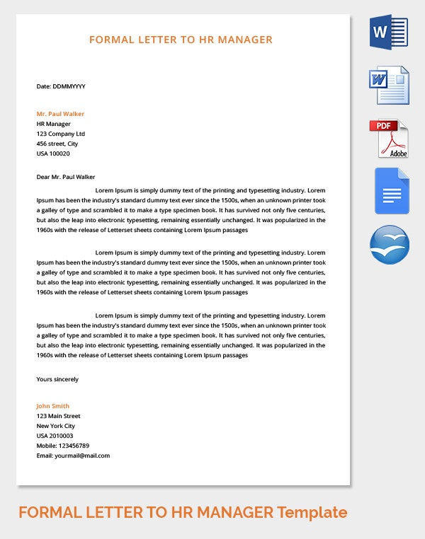 HR Manager Formal Letter Template