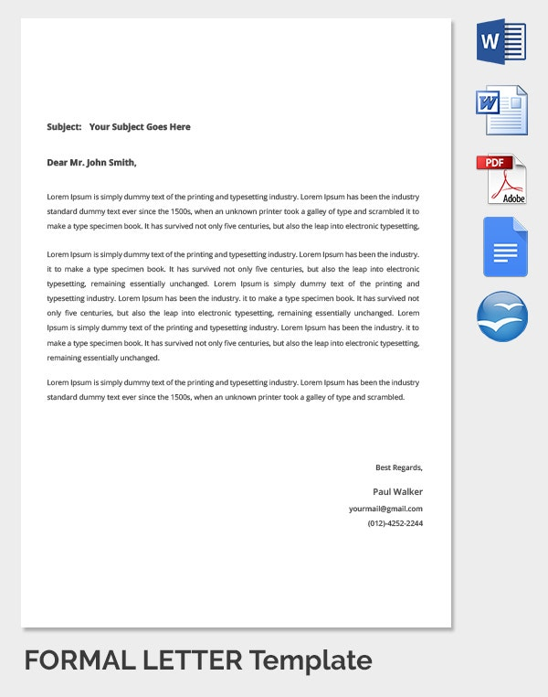 23+ Best Formal Letter Templates - Free Sample, Example Format ...