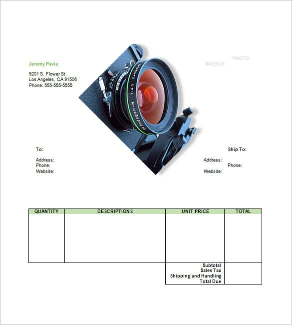 customizable photography invoice template sample