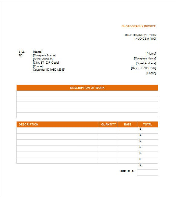 Photography Invoice Template   Free Sample Example Format