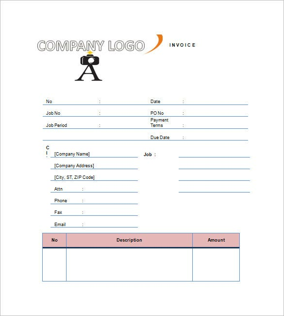 Photography Invoice Template 6 Free Sample Example Format
