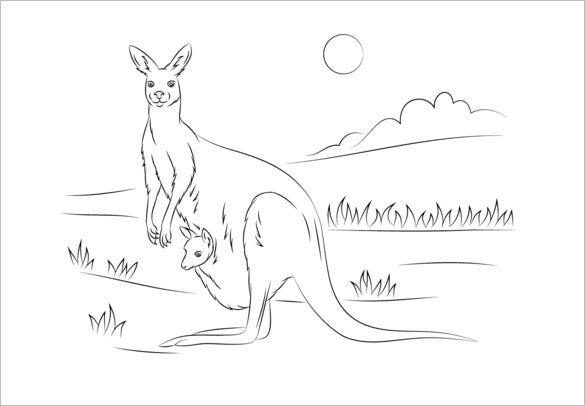kangaroo with baby template