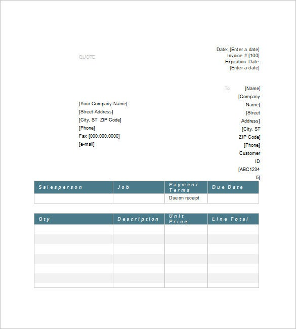 price quote template 10 free word excel pdf format download