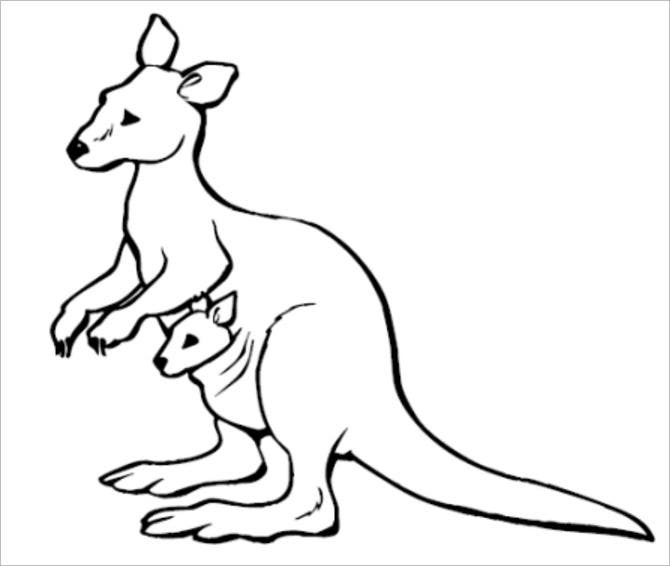 kangaroo colorpage template