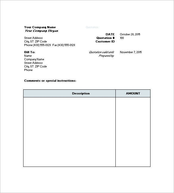 Price Quote Request Template  Quote Invoice Template