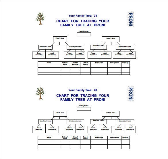chart for family tree free pdf format download