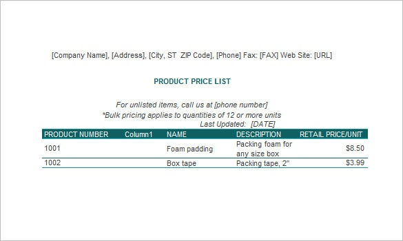 price list excel template