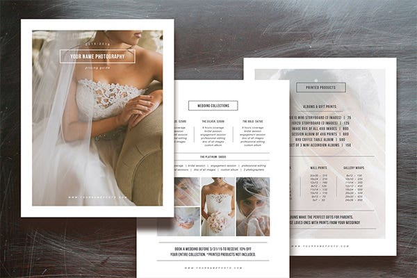 price list template for photographers