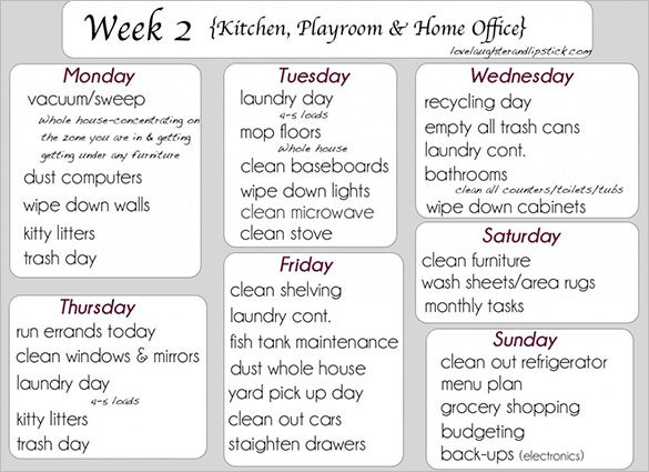 8  kitchen schedule templates