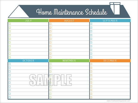 sample home maintenance schedule pdf download