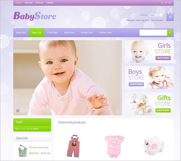 beautiful baby store oscommerce template