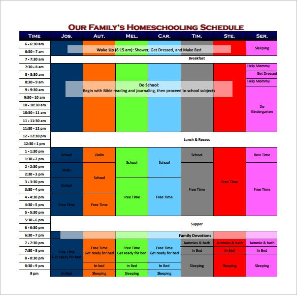 free download family home schooling schedule template