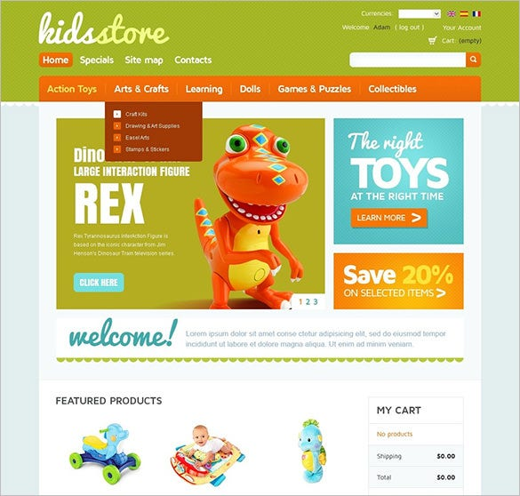 elegant kids store oscommerce template