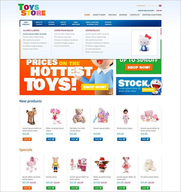 toys for kids oscommerce template