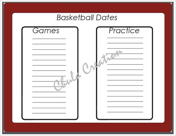blank customizable basketball schedule template sample
