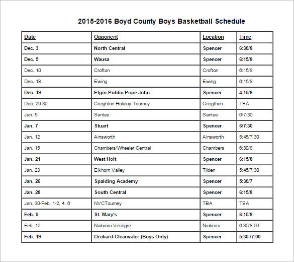7 basketball schedule templates samples doc pdf psd for Baseball schedule template free