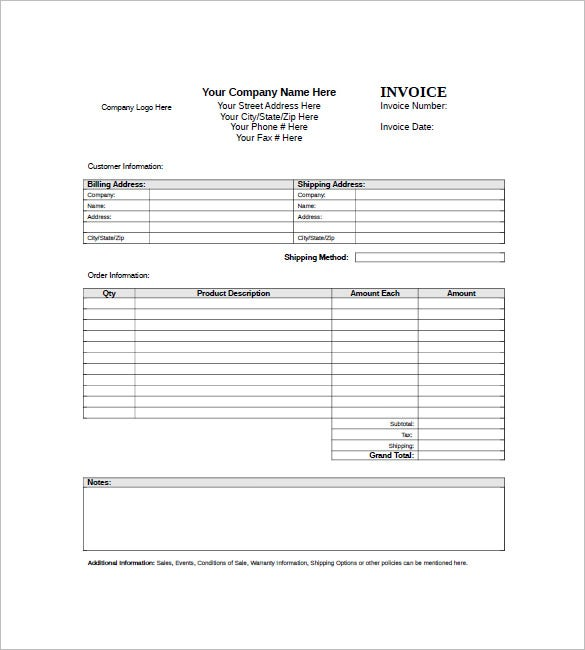 download standard invoice template