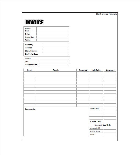 Sample Of Standard Invoice Form Template  Invoice Layout Example