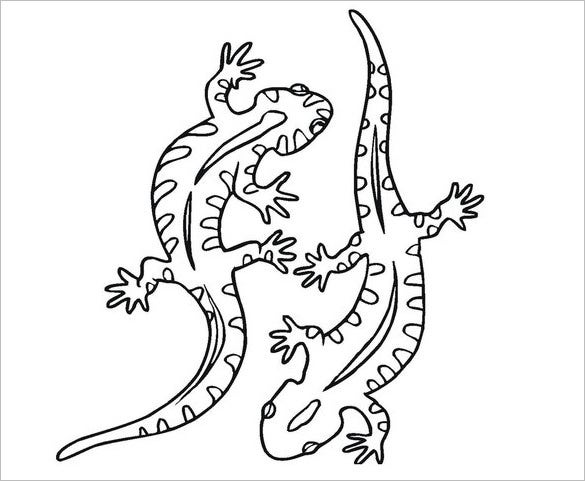 twin lizard coloring template
