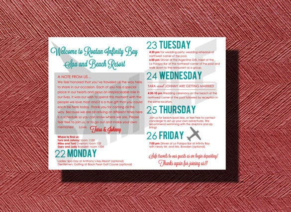 destination wedding weekend schedule sample download