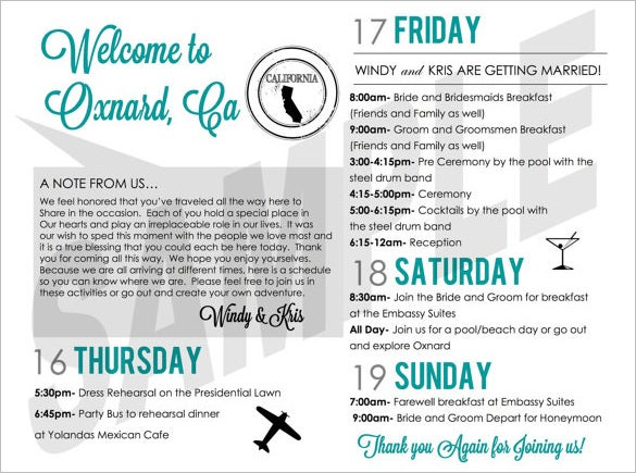 Sample Wedding Weekend Schedule Of Events