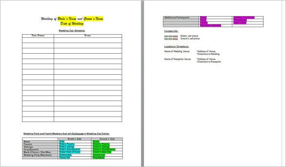 Wedding Day Schedule Template Excel