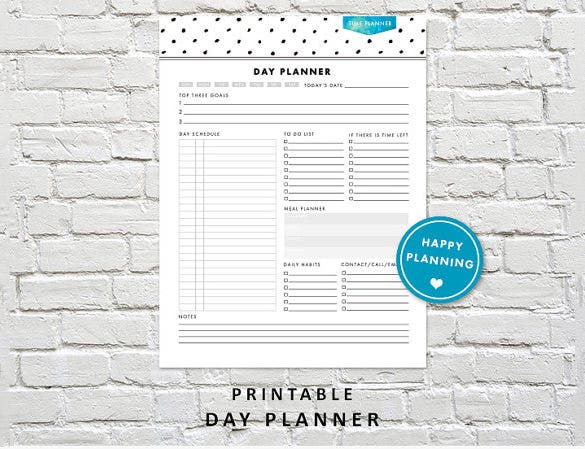 blank organizer day planner schedule sample