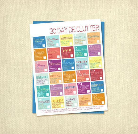 30 day declutter schedule template sample download