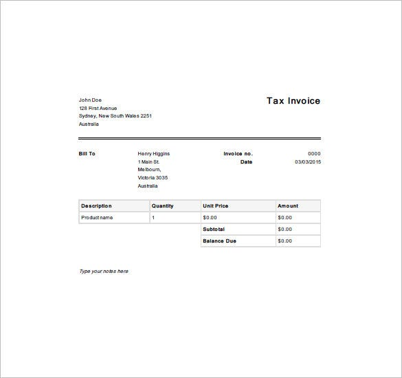 Tax Invoice Templates 10 Free Word Excel PDF Format Download – Invoice Template Excel Australia