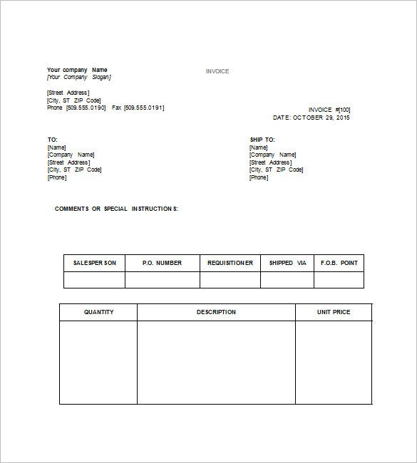 Tax Invoice Template Word Throughout Examples Of Tax Invoices