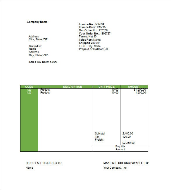 Travel Invoice Templates   Free Word Excel Pdf Format