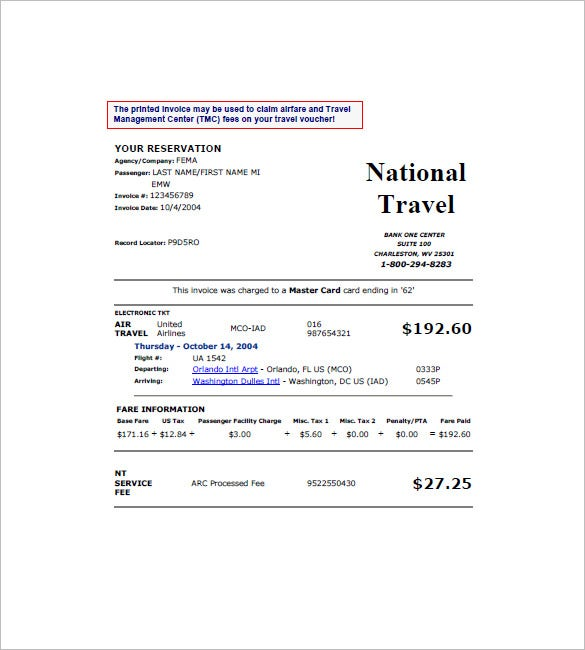18 Travel Invoice Templates Pdf Doc Excel Free